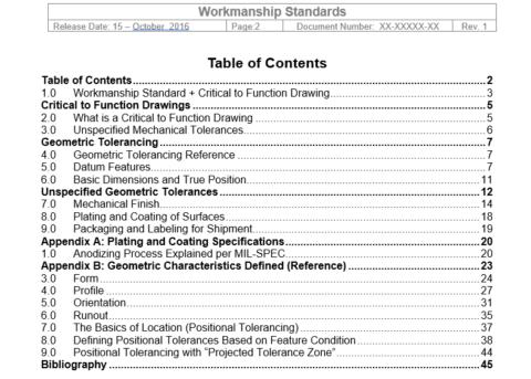 Parametric Workmanship Standards_TOC